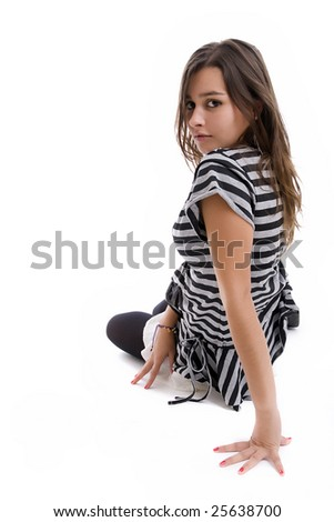 Young girl, posing isolated over white background