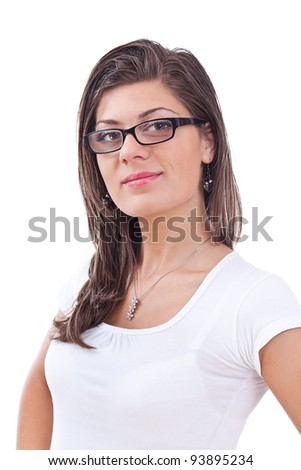 Young girl posing isolated over white background - stock photo