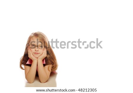 Young girl posing on isolated background - stock photo