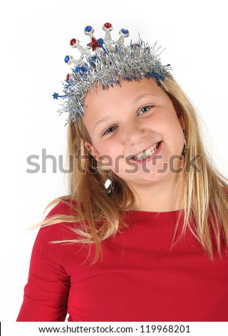 Young girl posing with a princess tiara isolated on white background