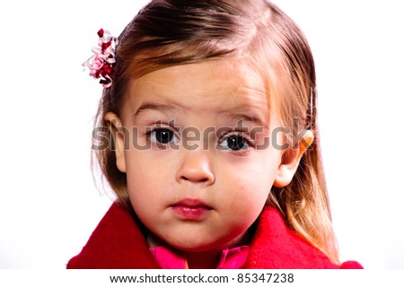 young girl pouting - stock photo
