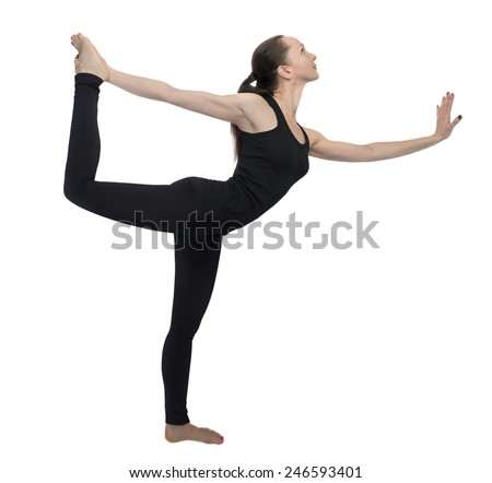 Young girl practicing yoga in black sport wear, black of dance pose, fitness girl isolated on white - stock photo
