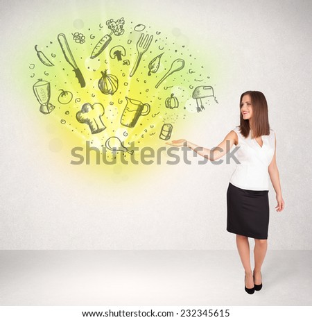 Young girl presenting nutritional cloud with vegetables concept - stock photo