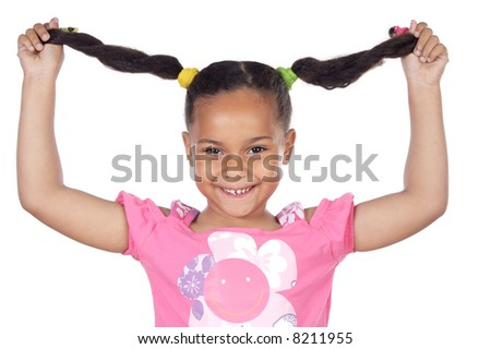 young girl pulling her hair and an expression of Happiness - stock photo