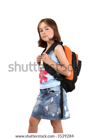 Young girl ready for school
