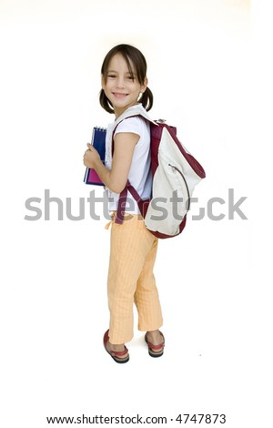 young girl ready for school isolated on white - stock photo