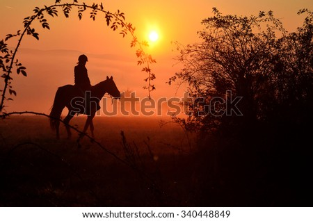 Young girl riding on horse during wonderful calm autumn morning full of mist and gold light - stock photo