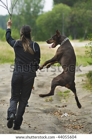 Young girl running with dog the doberman. Dog is jumping