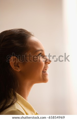 Young girl's profile - stock photo