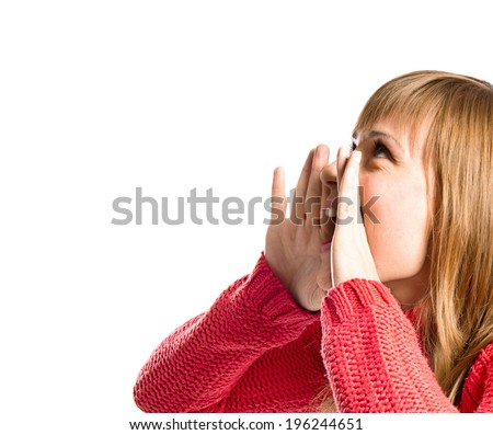 Young girl shouting over isolated white background  - stock photo