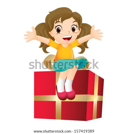 Young girl sitting on a big present - stock photo