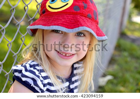 young girl smiling head shot - stock photo