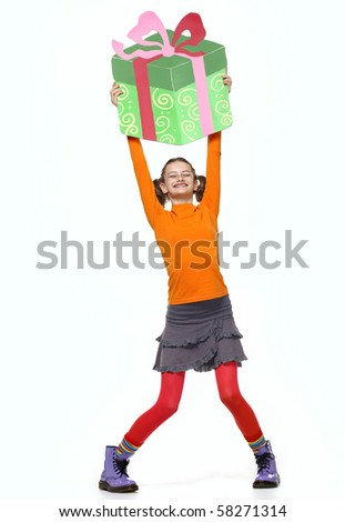 Young Girl Smiling, Holding Creative Gift over a head Bright Portrait isolated on white background