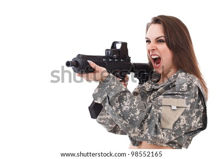 Young girl soldiers with gun shouts, isolated on white background - stock photo