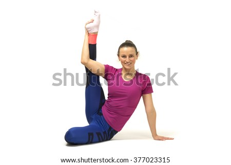 Young girl stretches