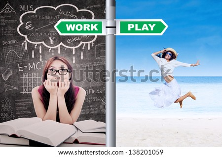 Young girl student is dreaming to have vacation on the beach - stock photo