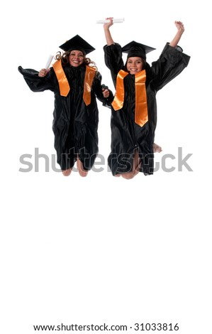 Young girl students jumping together very happy. - stock photo