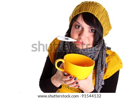 Young girl suffering from flu - stock photo