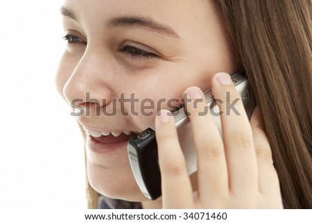 Young Girl Talking On Mobile Phone - stock photo