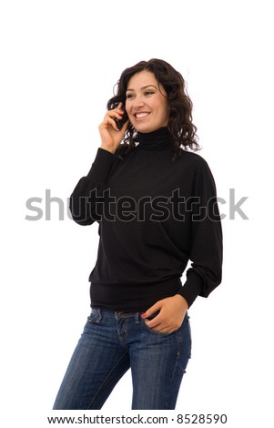 young girl talking with her cell phone on white background