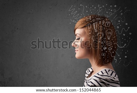 Young girl thinking with abstract icons on her head