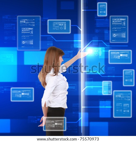 young girl touching a virtual surface. Illustration