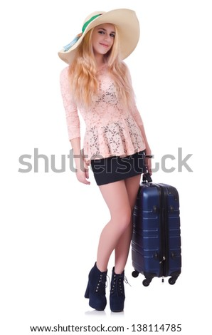 Young girl traveller isolated on white - stock photo