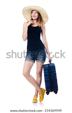 Young girl travelling isolated on the white