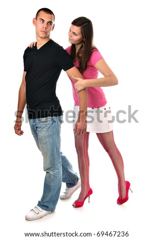 Young girl tries to stop her boyfriend from leaving isolated on white