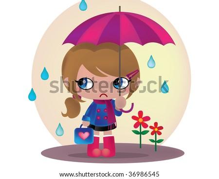 Young Girl Under Umbrella - stock photo