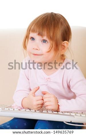 young girl using a keybord. computer generation - stock photo