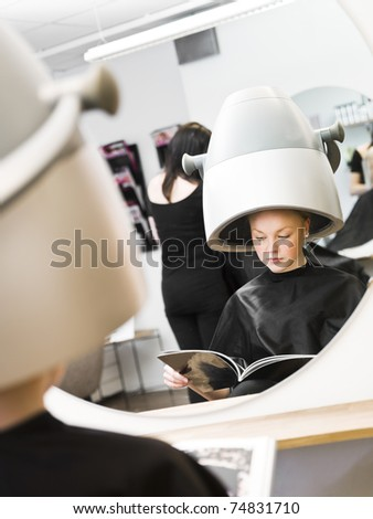 Young girl waiting at the Beauty Spa - stock photo