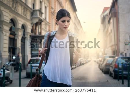 Young girl walking  - stock photo