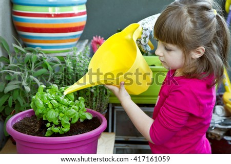 Young girl watering basil plant smiling