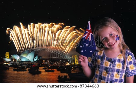 Young girl waves Australian flag in front of the Sydney Harbour Bridge - stock photo