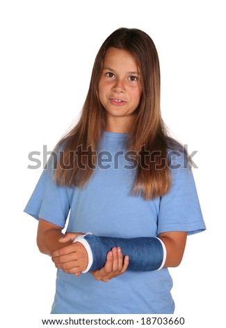 Young girl wearing a blue cast isolated on white background