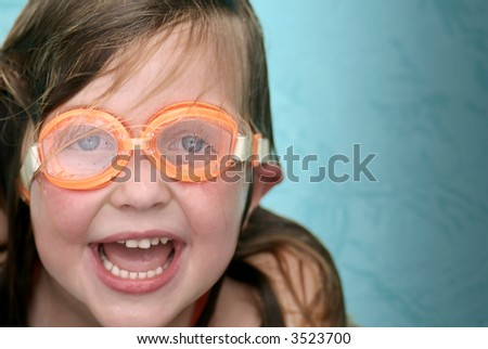 Young Girl wearing goggles - stock photo