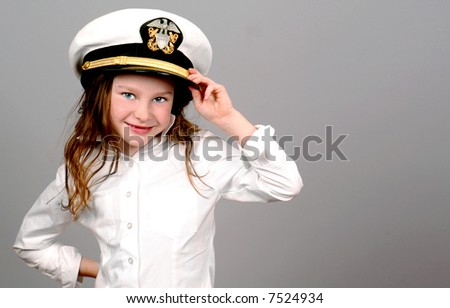 Young Girl Wearing Navy Sailor Hat - stock photo