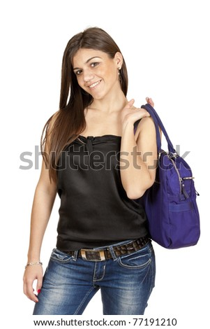 young girl with a bag closeup isolated on white background