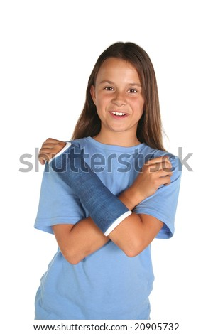 Young girl with a broken wrist or arm isolated on white background