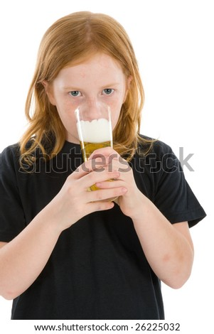 Young girl with a glass alcohol - stock photo