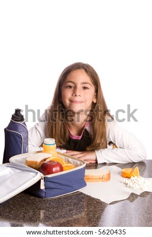 Young girl with a healthy lunch - stock photo
