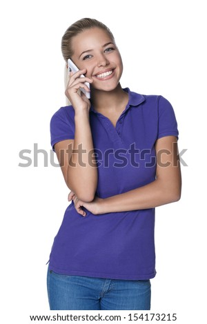young girl with a phone - stock photo