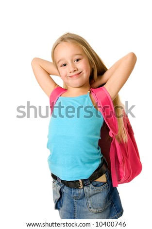 Young girl with a pink backpack - stock photo