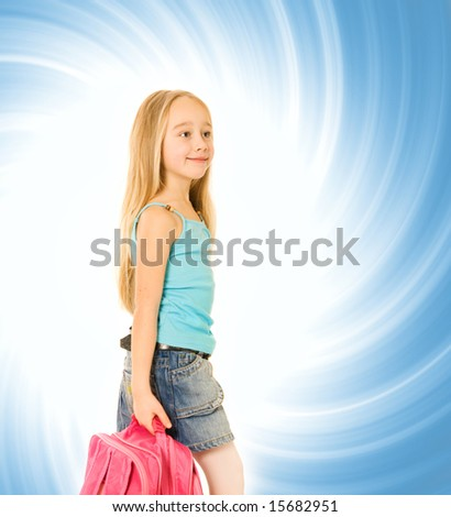 Young girl with a pink backpack over abstract blue background - stock photo