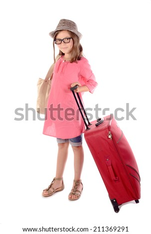 young girl with a red suitcase on white background - stock photo