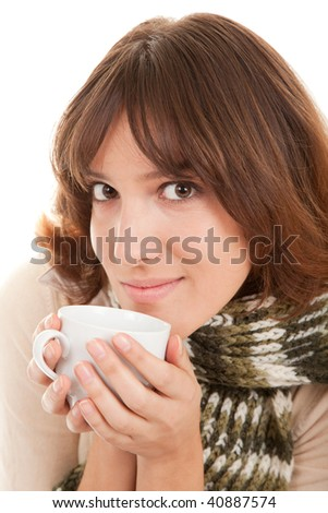 young girl with a scarf and a cup in his hand on a white background