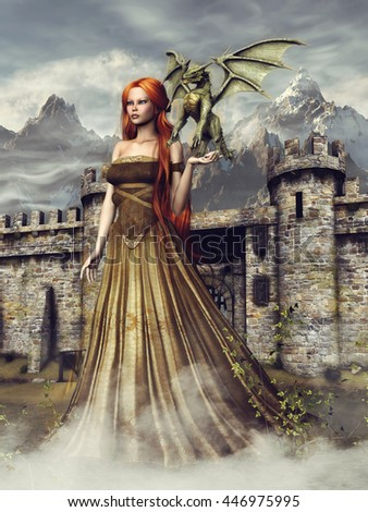 Young girl with a small green dragon standing in front of a fantasy castle. 3D illustration.