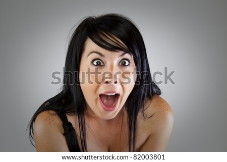 Young girl with a surprise expression