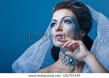 Young girl with a theatrical make-up as a fairy snow queen - stock photo